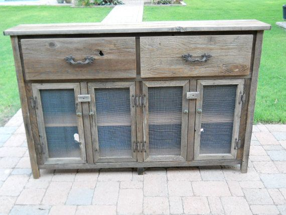 Captivating Outdoor Buffet Table Or Cabinets From Reclaimed Barn Wood  Planks With Antique Cast Iron Drawer Pulls And Vintage Butterfly Hinges  Also Wire Mesh ...