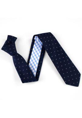 Cravate Bleu Diptyque à fleurs et carreaux bleus