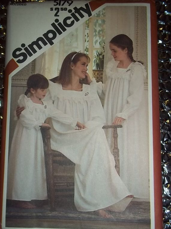 vintage Nightgown pattern, misses, ALL sizes, girls, childs, pullover nightgown sewing pattern Simplicity 5179 UNCUT Easy sewing pattern. , via Etsy.