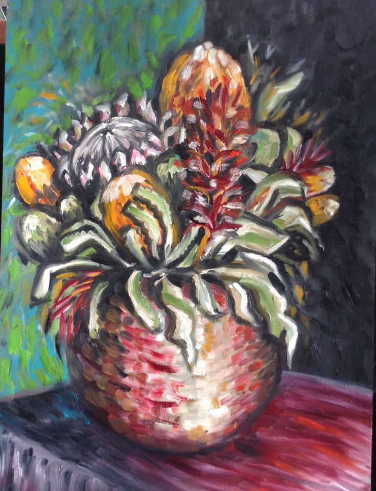 Australian and South African native flowers. Oil on canvas.