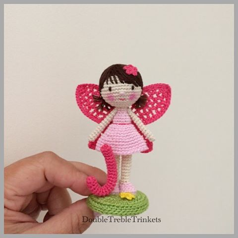 """J"" is for...  #crochetdoll #personalizedgift #fairy #present #forgirls #caketopper #figurine #babygirl #minime #handmade #homedecor #weamiguru #keepsake #crochetfairy #miniature #artdoll"