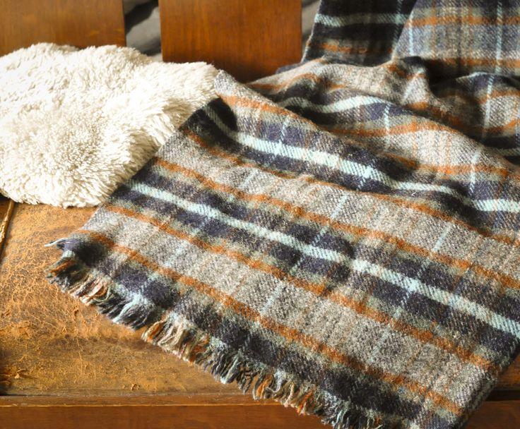 Vintage Blue Brown Plaid Tartan Throw Fall Stadium Blanket Scottish  Shawl or Wrap with fringe by drowsySwords on Etsy