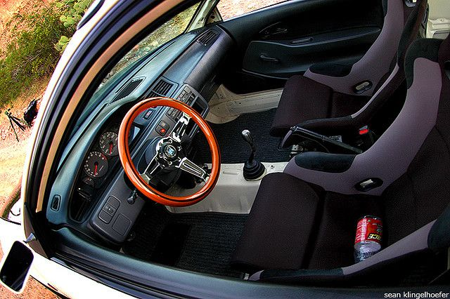 CJ's cream Honda Civic EG hatch by Nike SB'd, via Flickr