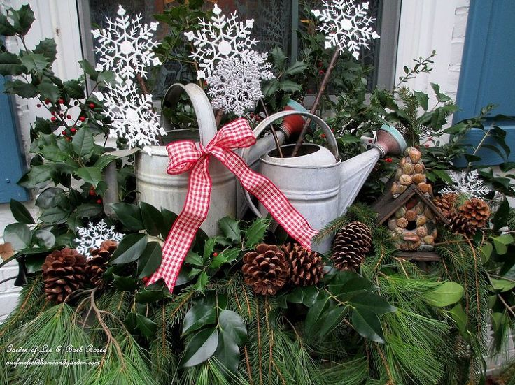 Rustic Watering Cans Windowboxes ~ Our Fairfield Home & Garden - Using watering cans collected over the years, greens cut from our property and some Dollar Stor…