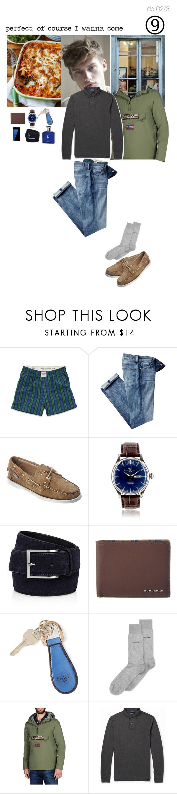 """""""Perfect, of course I wanna come"""" by adelaidesmitha ❤ liked on Polyvore featuring Abercrombie & Fitch, 7 For All Mankind, Sebago, To Boot New York, Burberry, Samsung, Berluti, Calvin Klein, Napapijri and Polo Ralph Lauren"""
