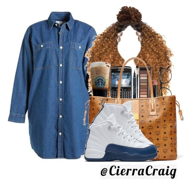 """City Girl"" by cierracraig ❤ liked on Polyvore featuring :CHOCOOLATE, MCM, NIKE, dress, DenimDress, jordans and mcm"