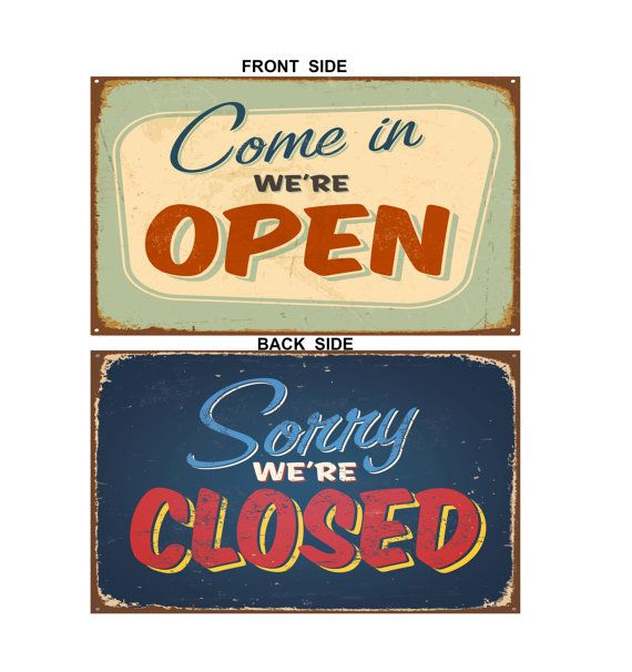 Vintage Style Open Closed Sign Aluminum by ClassicMetalSigns