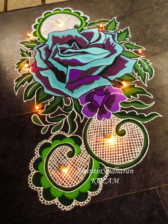 #rose#lace#mandala#blue#purple#kolam#rangoliblue#green