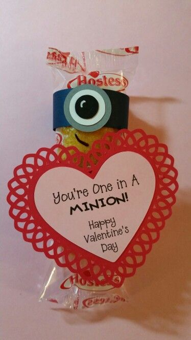 """Minion Twinkie Valentine. Blue band 5 1/2"""" x 3/4"""". 1"""" gray circle,  3/4"""" white circle and 1/2"""" black circle. 2 1/2"""" diameter heart. I used print and cut on Silhouette."""