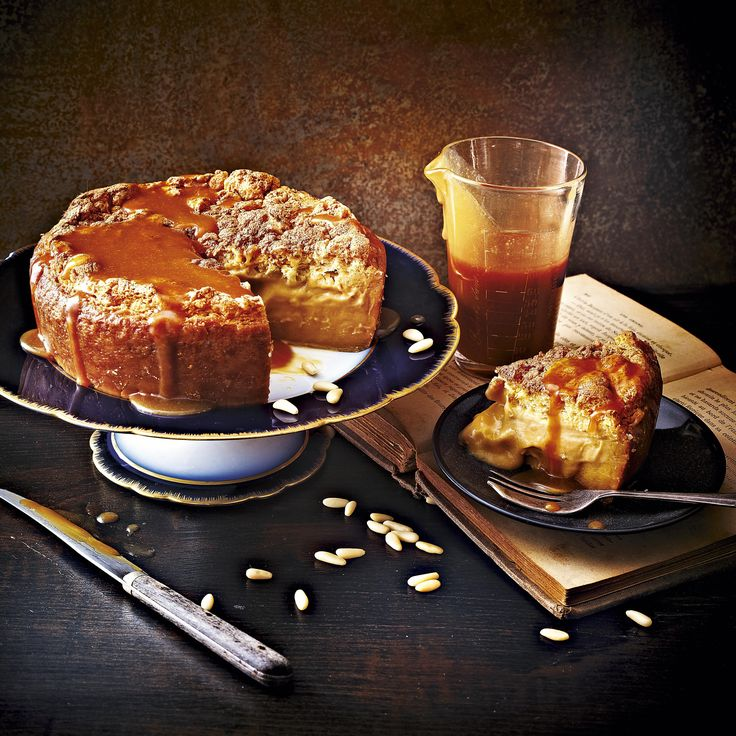 Salted Butter Caramel Magic Cake, a cake recipe that separates into three layers when cooking. For the full recipe, click the picture or see www.redonline.co.uk