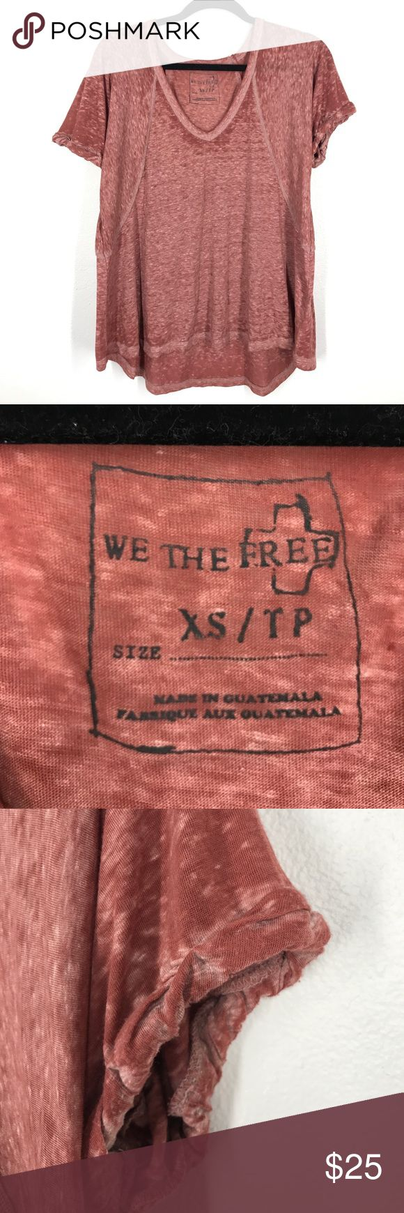 Free People We the Free red short sleeve top XS Oversized thin jersey knit top. Rolled sleeve details. In great condition! Free People Tops Tees - Short Sleeve