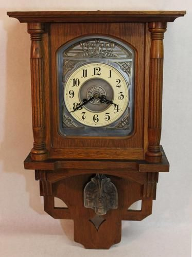 Classic Antique Arts & Crafts German Oak & Steel Junghans Wall Clock