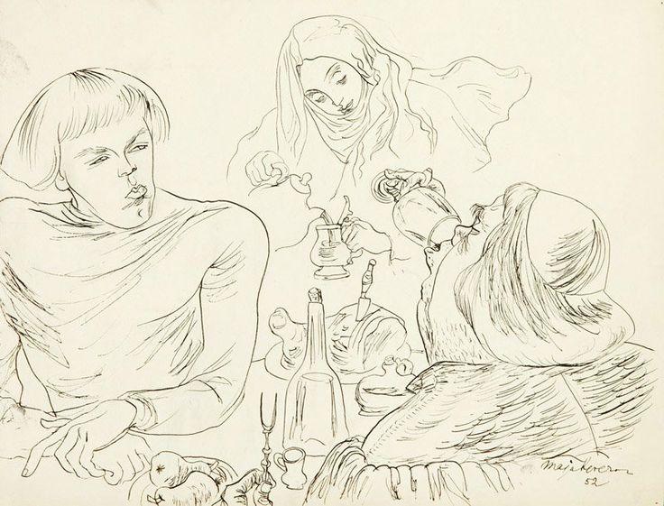 Maja Berezowska (1898 Baranowicze - 1978 Warsaw). Courtly banquet, 1952, ink on paper, 27,5 x 35,5 cm.