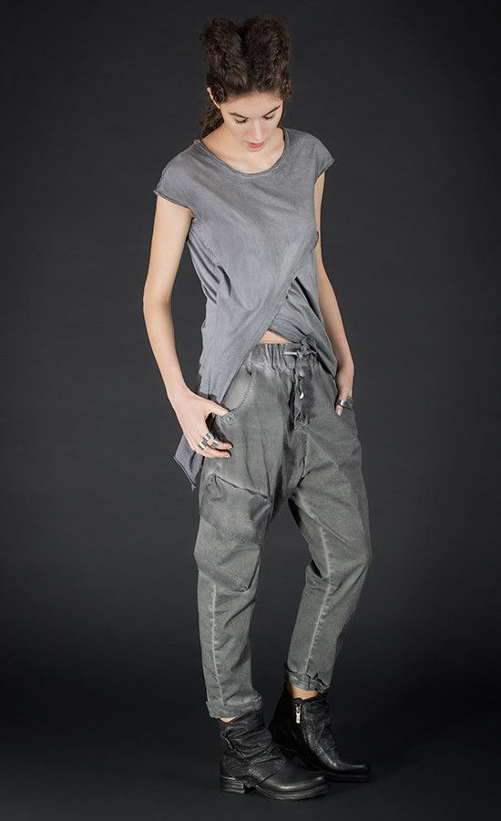 DORETO - grey old dye dropped crotch pants / Also available in black colour variant | Studio B3 |