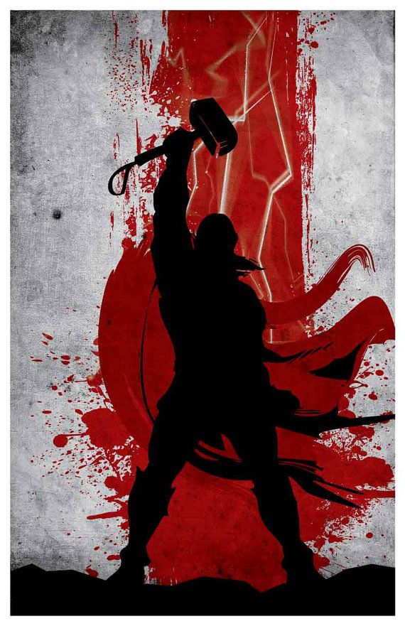 Set de cartel Vintage Vengadores película por MINIMALISTPRINTS