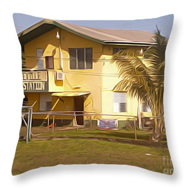 Throw Pillow featuring the digital art Belize - Hattieville Police Station by Jason Freedman