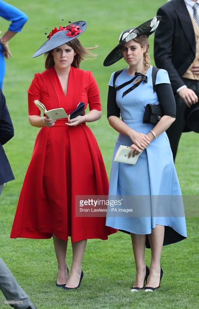 Princess Eugenie of York (left) and Princess Beatrice of York during day three of Royal Ascot at Ascot Racecourse. (Photo by Brian Lawless/PA Images via Getty Images)
