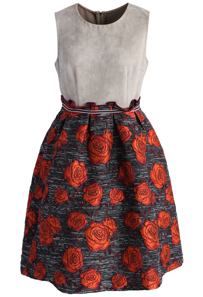 Stun with Roses Suede Two Tone Dress - New Arrivals - Retro, Indie and Unique Fashion