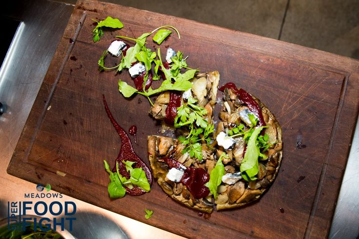 Michael Van Elzen's Smoked Mushroom Tart with Ashed Goat's Cheese and Beetroot Syrup