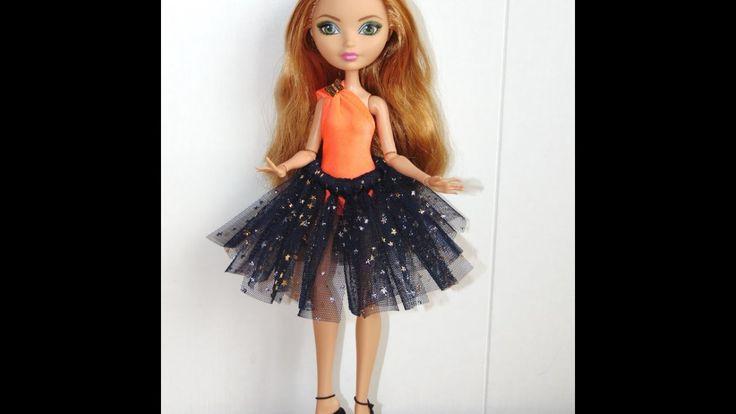 Как сделать юбку пачку для куклы без иголок и ниток!!!!!!