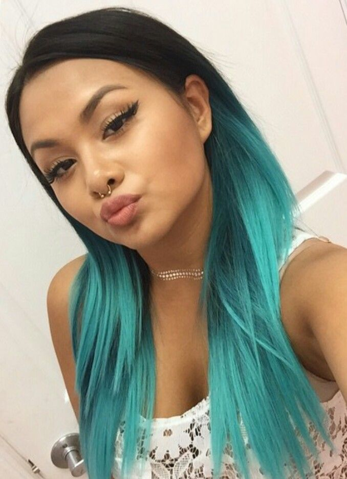 turquoise blue ombre dyed hair color