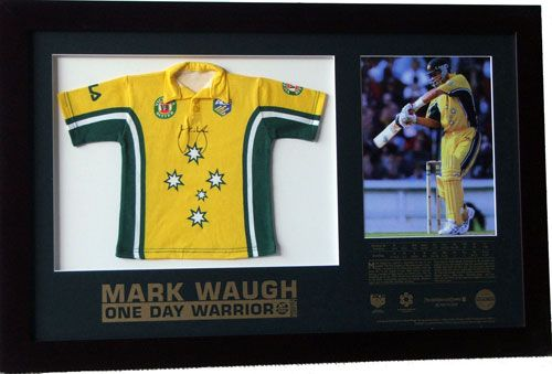 Mark Waugh One Day Warrior is licensed by the ACB, Australian Cricketer's Association and authenticated by Price Waterhouse Coopers. This is an individually numbered framed item of only 350 worldwide. It has a miniature one day top signed by Mark. Mark Waugh has earned a reputation as one of the premier One Day batsmen in the international arena. Long a mainstay in the middle order, he tried out for the opener's spot with instant success, making a number of high scores at quick pace.