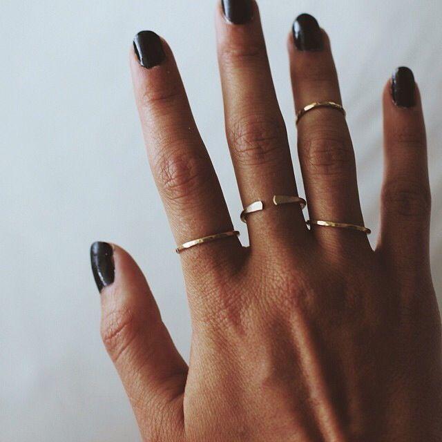 thin gold rings: