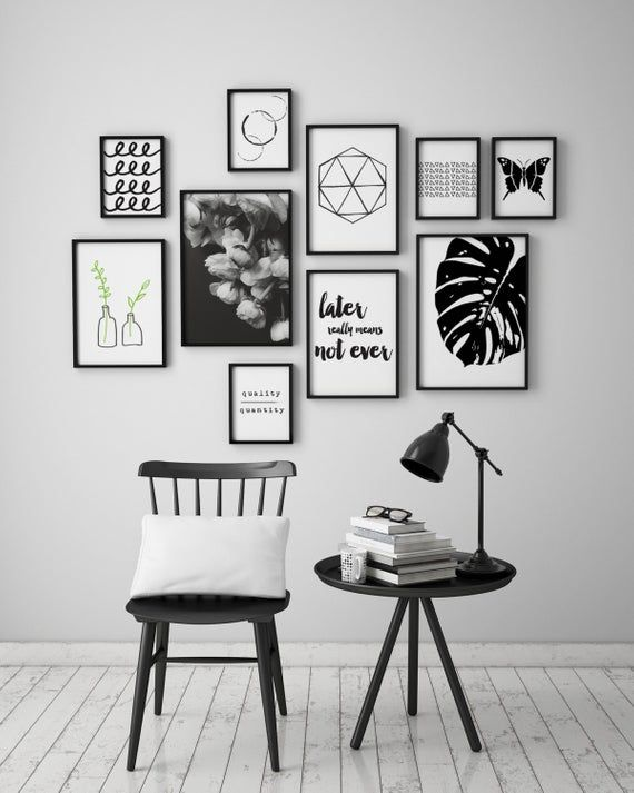 Black And White Monstera Leaf Instant Download Art Printable Etsy In 2020 Black And White Picture Wall Black And White Decor Black Frames On Wall