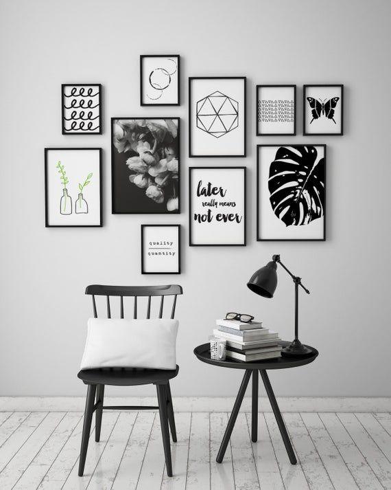 Black And White Monstera Leaf Instant Download Art Printable Art