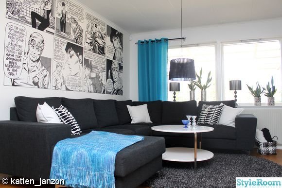 StyleRoom.se - Living room with Modesty Blaise wall paper