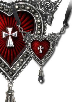 A splendour of Swarovski crystals and enamel encrust this lavish icon. Handmade of fine English pewter, adorned with roses...a very Sheik Gothique...