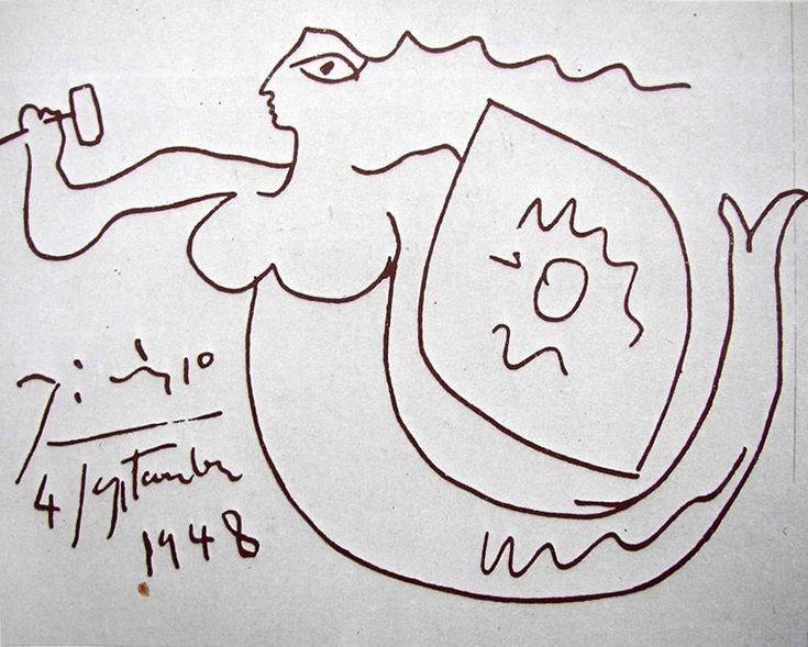 Picasso's drawing of Warsaw Mermaid, photo: public domain