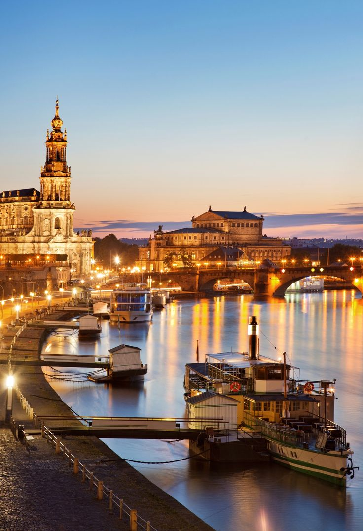 Dresden and Elbe River at dusk, Germany