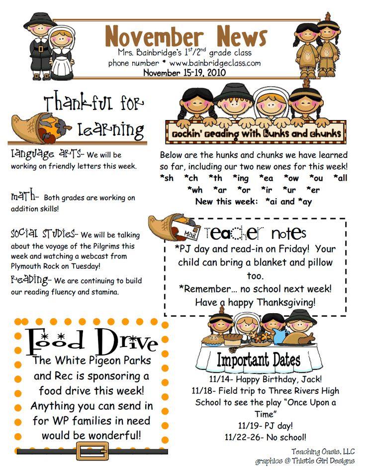 69616d621b529702cabb4d636e851b86--november-pre November Teacher Newsletter Template on owl theme, for first grade, free preschool,