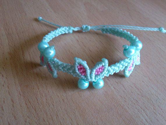 Macrame Bracelet with Butterflies Micromacrame Jewelry by MACRANI
