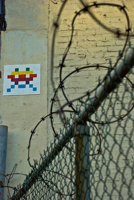 Space Invaders Tile Graffiti Street Art Photo by Kurt Christensen, via Flickr