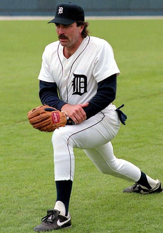 Tom Selleck works out with his beloved Detroit Tigers in the 1980s.      (DetroitAthleticClub)