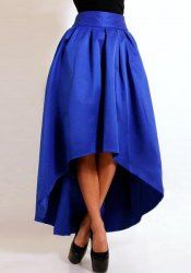 Stylish High-Waisted Pure Color Asymmetrical Ruffled Women's Skirt