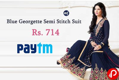 Paytm offers MONIKA SILK MILL Blue Georgette Semi Stitch Suit at Rs. 714 after 35% Cashback. 1099 – 35% Cashback = Rs.714. A Great Party Wear Semi stitched Dress Material To Suite All New Wedding Season. Top Pure Georgette, Dupatta Pure Chiffon And A Santoon Bottom. Wash Care Easy Wash In Cold Water::Do Not Bleach::No Hard Detergents ...  http://www.paisebachaoindia.com/blue-georgette-semi-stitch-suit-at-rs-714-35-cashback-paytm/