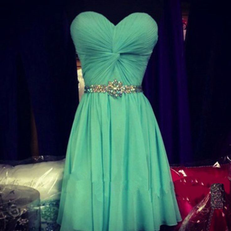 Pretty Simple Cute Short Green Prom Dresses 2016 With Beadings