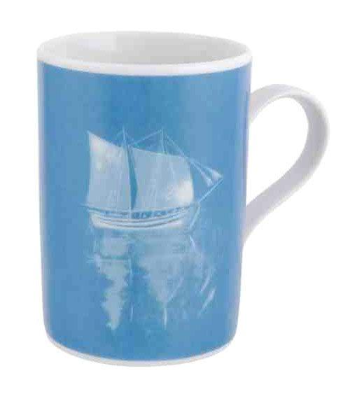 Mug with S.Vassiliou work - Spyros Vassiliou: Fishing boat and amulets, 1981      Applied on porcelain
