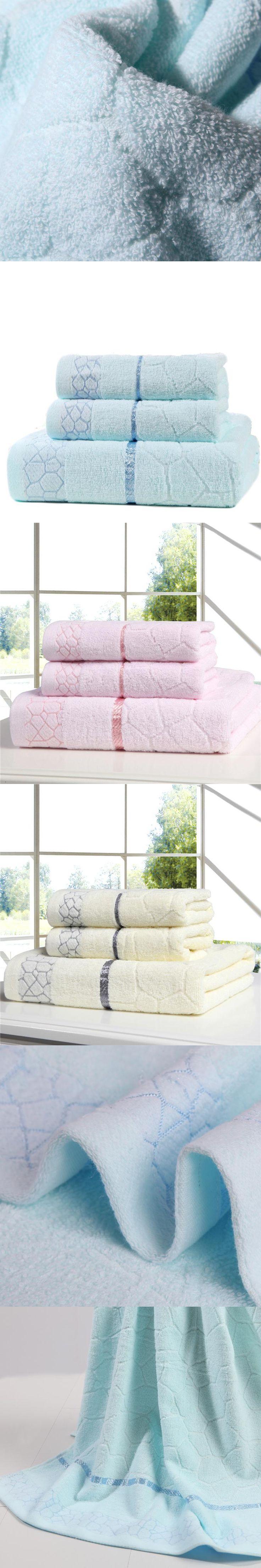 100% Cotton Water cube Towel Set 3pcs Include 1 Bath Towel , 2 Face Towel High Quality Very Soft Towel