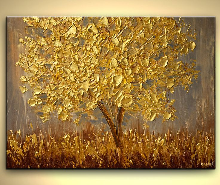 Original abstract art paintings by Osnat - golden tree