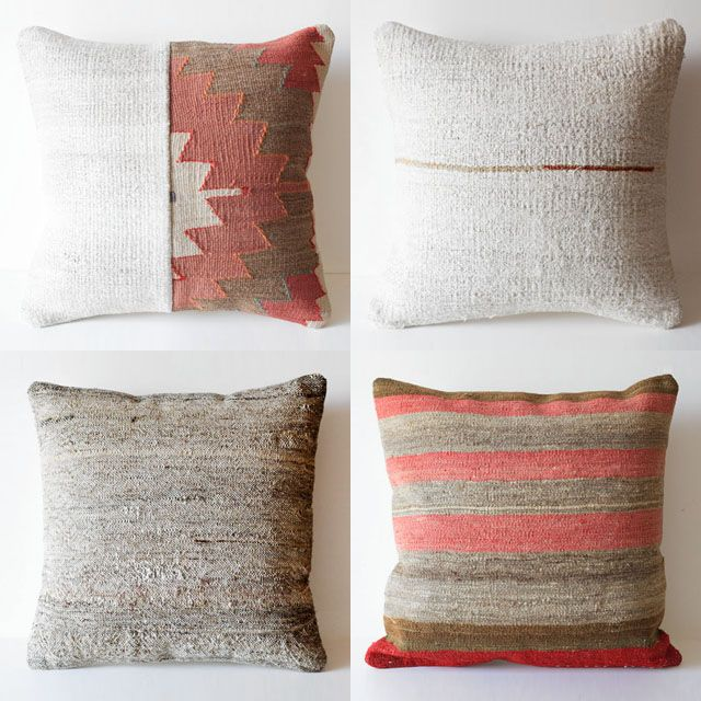 Been attracted to opposite of blues and grays too lately, these warm almost Santa Fe-style pillows are nice.