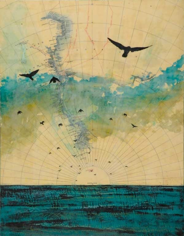 "Jeff League | Global Migration IV | encaustic with photo transfer, 8""x8"" /sm"