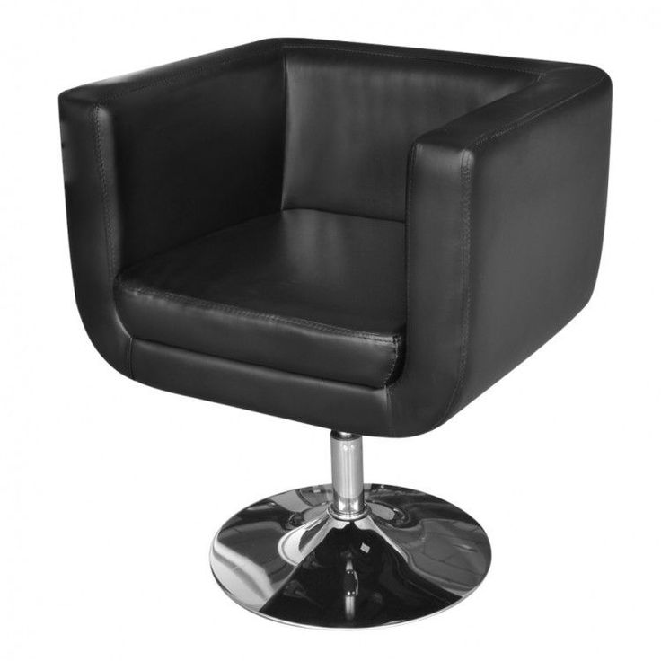 Black Leather Chair Furniture Artificial Armchair Adjustable Modern Home Swivel