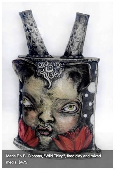 """Marie E.v.B. Gibbons, """"Wild Thing"""" fired clay and mixed media"""