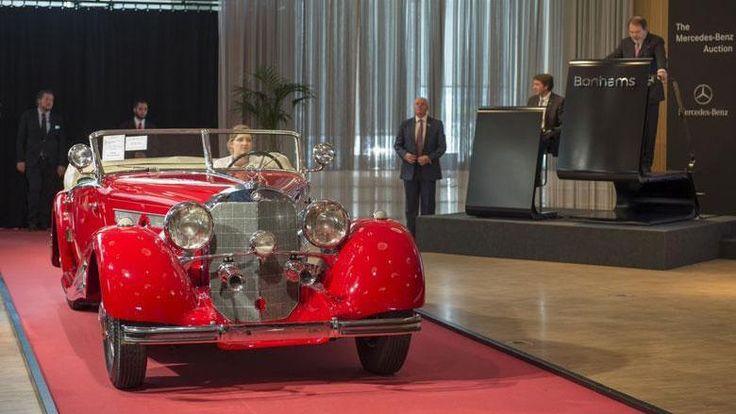 Mercedes 500 K Roadster von 1934, gGehörte einst dem Berliner Rechtsanwalt Alfons Sack, der zu Geld & zweifelhaftem Ruhm kam, indem er Joseph Goebbels & an-dere bekannte Nationalsozialisten unter anderem im Reichswehr-prozess von 1939 verteidigte. In den 70er Jahren war das Auto in Posen wiederaufgetaucht & später dann in Schweden aufwändig restauriert worden. Bonhams hatte den Wert des Fahrzeugs auf 3,5 Millionen Euro geschätzt, für 3,1 Millionen Euro wegwurde er verkauft.