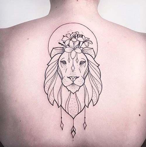 woman back lion tattoo kadın sırt aslan dövmesi