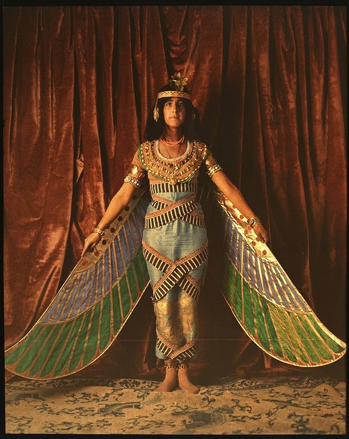 """Autochrome from George Eastman Collection: """"Dancer wearing egyptian-inspired costume with wings"""""""